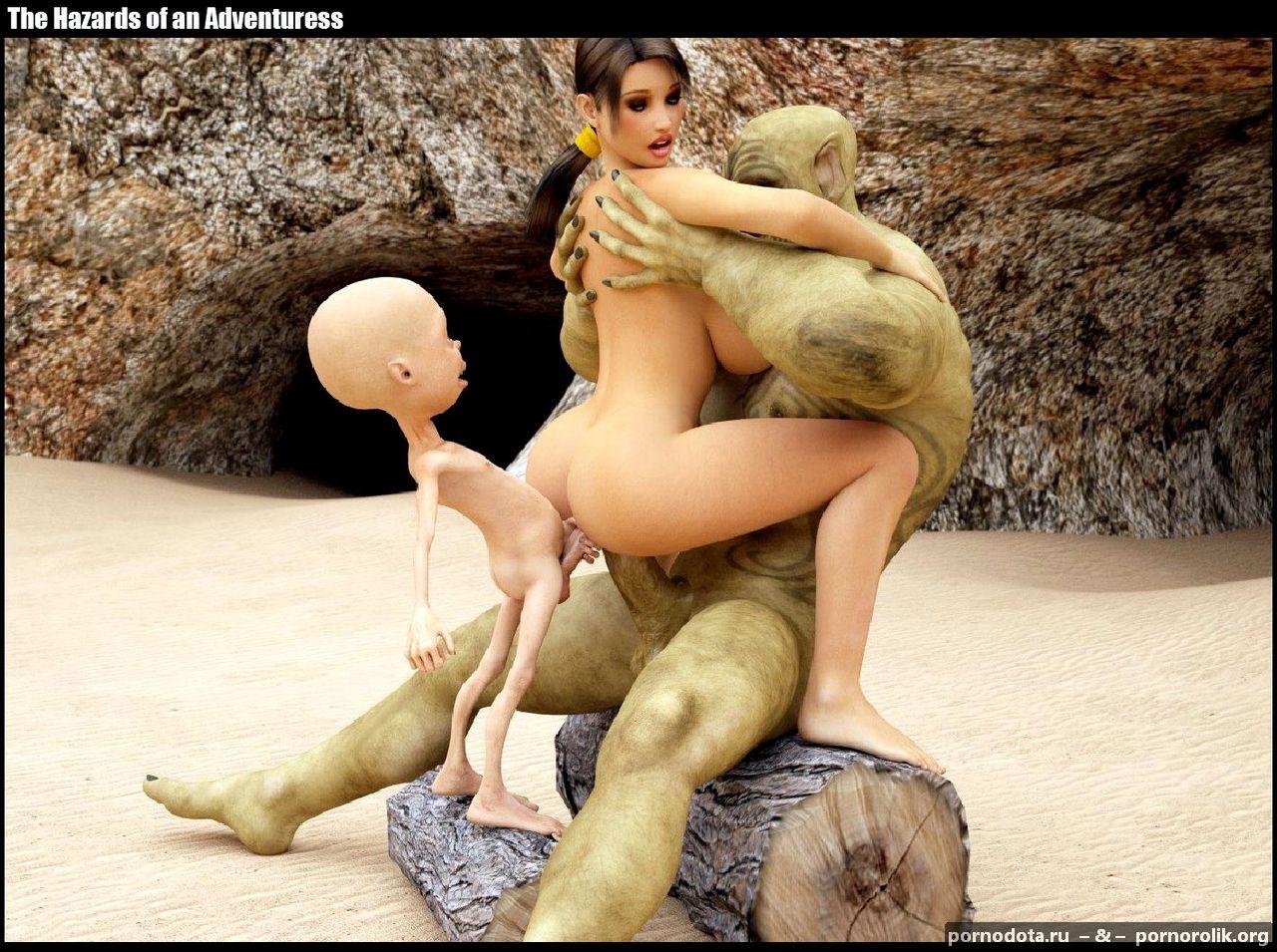 порно монстры трахнули лару крофт