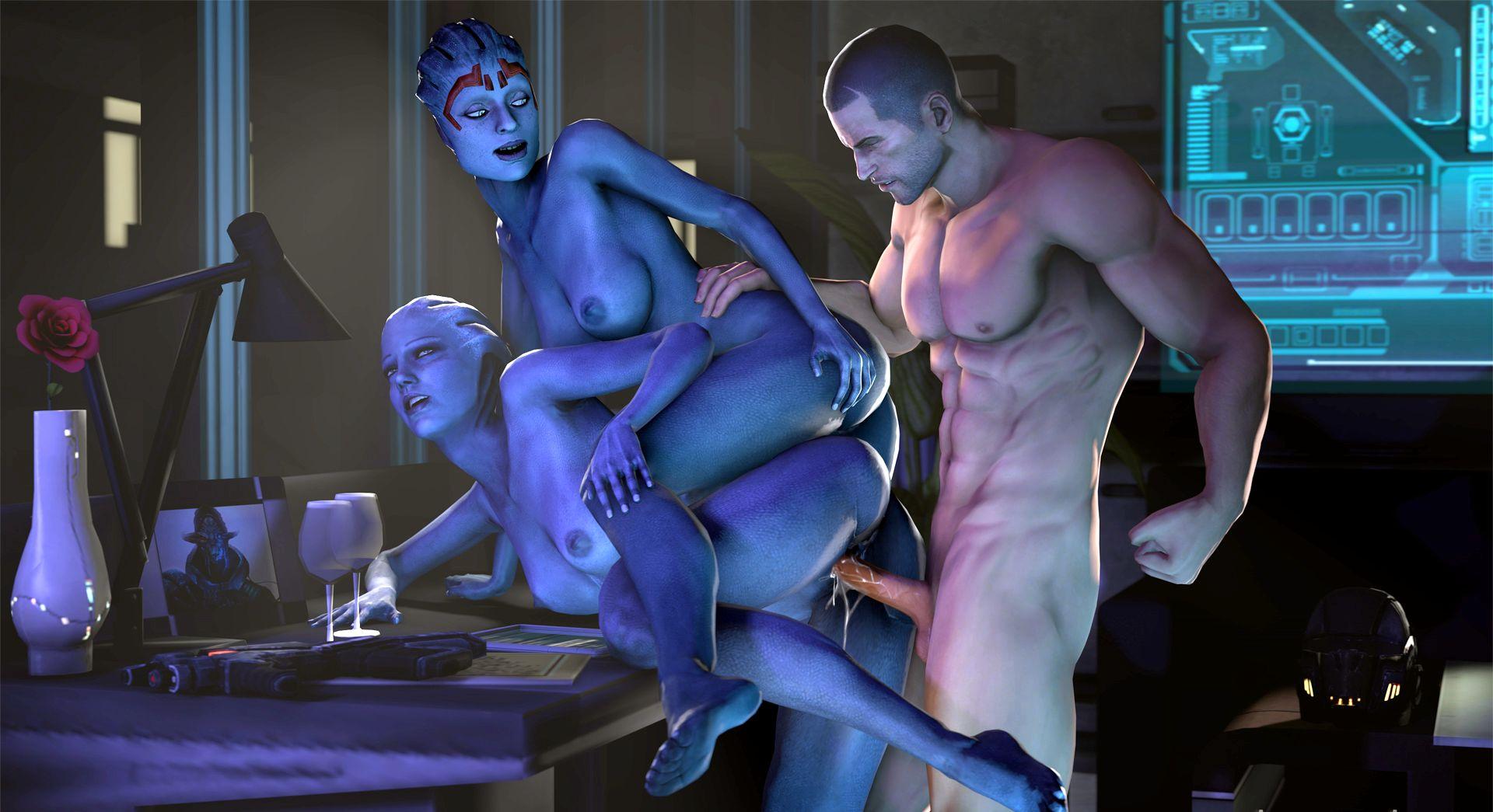 Секс Азари с Шепардом Mass Effect порно игра